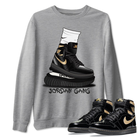 Jordan Gang Unisex Sweatshirt - Air Jordan 1 Retro High OG Black Metallic Gold Sneaker Matching Outfits Long Sleeve Heather Grey Pullover S