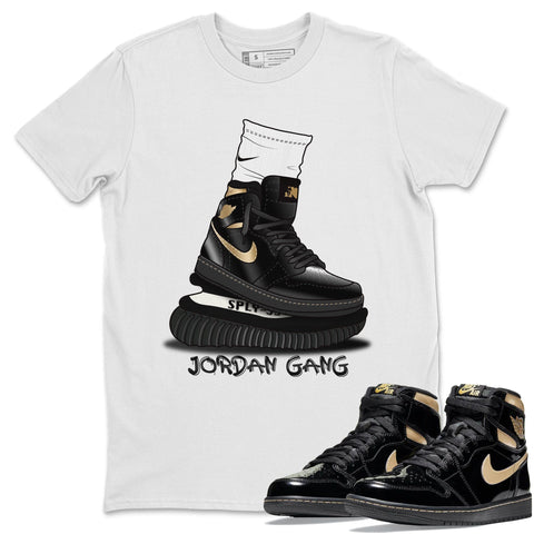 Jordan Gang T-Shirt - Air Jordan 1 Retro High OG Black Metallic Gold Air Jordan 1 Unisex Crew Neck T Shirt Jordan 1 Black Metallic Gold White Tee S