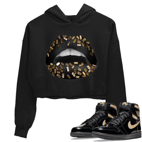 Air Jordan 1 Retro High OG Black Metallic Gold Sneaker Long Sleeve Women Crop Hoodie And Outfits Lips Jewel Black Hoodies S