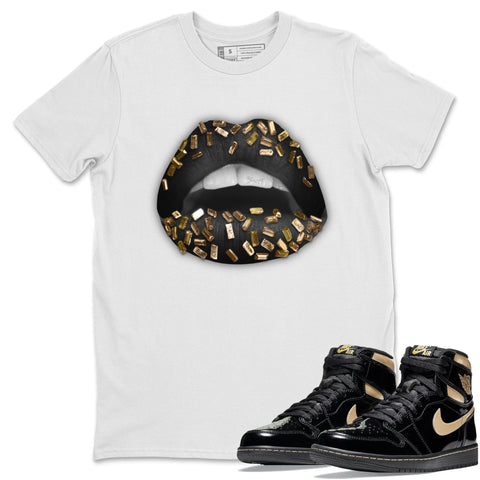 Lips Jewel T-Shirt - Air Jordan 1 Retro High OG Black Metallic Gold Air Jordan 1 Unisex Crew Neck T Shirt Jordan 1 Black Metallic Gold White Tee S