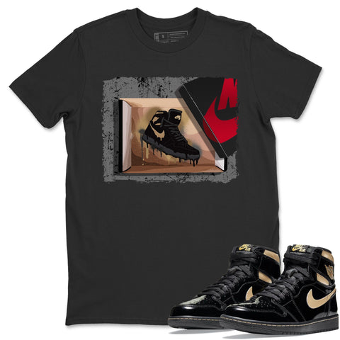 New Kicks T-Shirt - Air Jordan 1 Retro High OG Black Metallic Gold Air Jordan 1 Unisex Crew Neck T Shirt Jordan 1 Black Metallic Gold Black Tee S