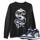 Dollar Camo Sweatshirt - Air Jordan 1 High OG Midnight Navy Air Jordan 1 Unisex Crew Neck Long Sleeve Pullover Black S
