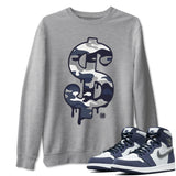 Dollar Camo Sweatshirt - Air Jordan 1 High OG Midnight Navy Air Jordan 1 Unisex Crew Neck Long Sleeve Pullover Heather Grey S