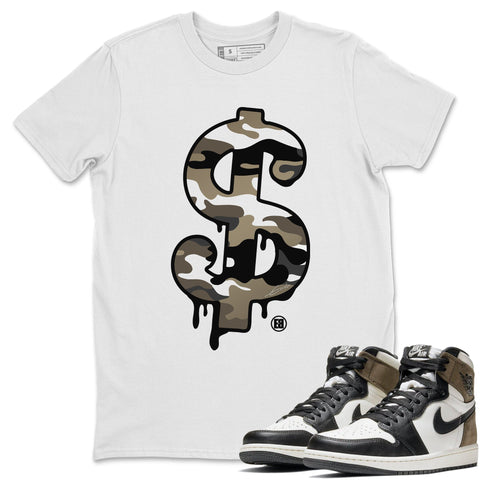 Dollar Camo T-Shirt - Air Jordan 1 Dark Mocha Air Jordan 1 Short Sleeve Shirt Jordan 1 Retro High OG Dark Mocha White S