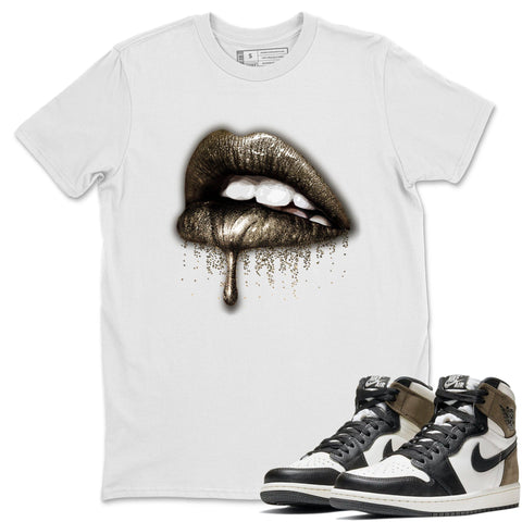 Dripping Lips T-Shirt - Air Jordan 1 Dark Mocha Air Jordan 1 Short Sleeve Shirt Jordan 1 Retro High OG Dark Mocha White S