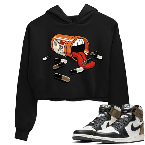 Air Jordan 1 Retro High OG Dark Mocha Sneaker Long Sleeve Women Crop Hoodie And Outfits Sneaker Addiction Black Crop Hoodies S