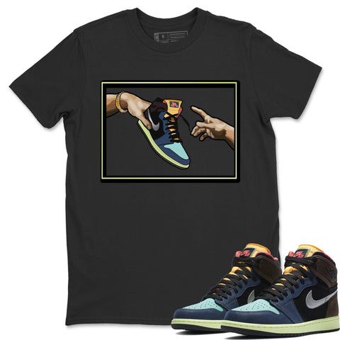 Air Jordan 1 Retro High OG Bio Hack Sneaker Matching Tees and Outfit Adams Creation Black T Shirt Image