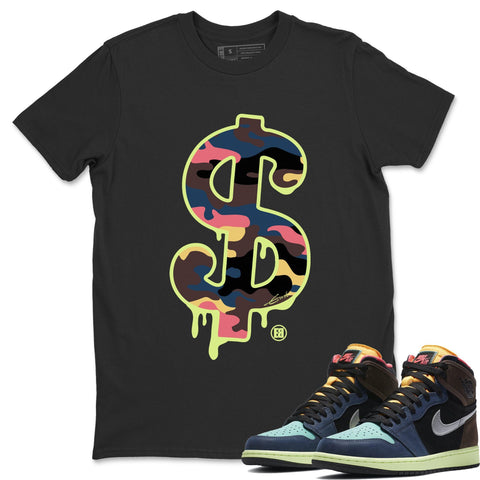 Air Jordan 1 Retro High OG Bio Hack Sneaker Matching Tees and Outfit Dollar Camo Black T Shirt Image