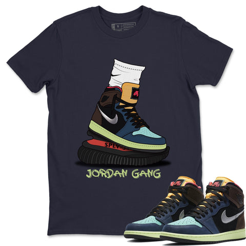 Air Jordan 1 Bio Hack  Sneaker Shirts And Sneaker Matching Outfits Jordan Gang Navy T Shirt Image