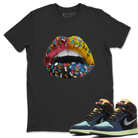 Air Jordan 1 Retro High OG Bio Hack Sneaker Matching Tees and Outfit Lip Jewel Black T Shirt  Image
