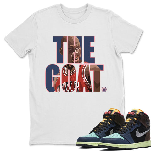 Air Jordan 1 Retro High OG Bio Hack Sneaker Matching Tees and Outfit The Goat White T Shirt Image