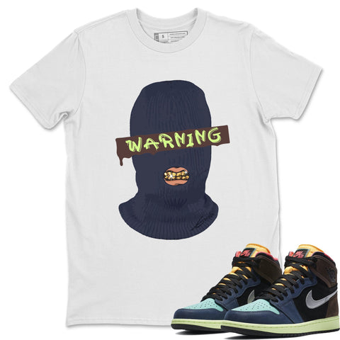Air Jordan 1 Retro High OG Bio Hack Sneaker Matching Tees and Outfit Warning White T Shirt Image