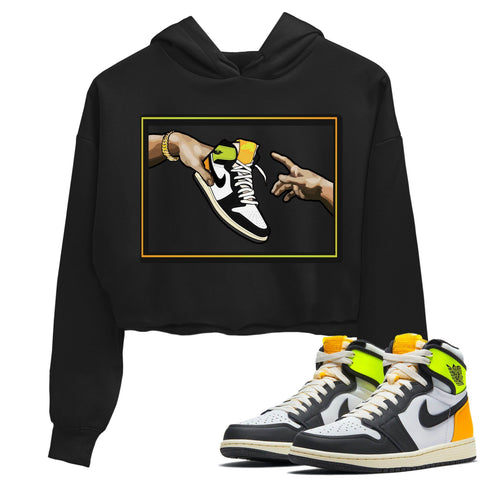 Air Jordan 1 Retro Black White Volt Gold Sneaker Long Sleeve Women Crop Hoodie And Outfits 1s Volt University Gold Adam's Creation Black Hoodies S