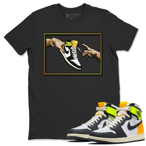 Adam's Creation T-Shirt - Air Jordan 1 Volt Gold Air Jordan 1 White Black Volt Gold Unisex Crew Neck T Shirt Volt University Gold 1s Black Tee