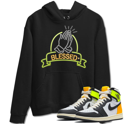 Blessed Unisex Hoodies - Air Jordan 1 Retro Black White Volt Gold Sneaker Matching Outfits Volt University Gold 1s Long Sleeve Black Hoodie S