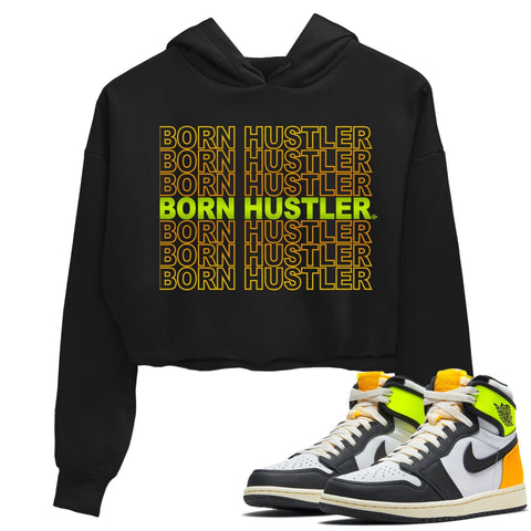 Air Jordan 1 Retro Black White Volt Gold Sneaker Long Sleeve Women Crop Hoodie And Outfits 1s Volt University Gold Born Hustler Black Hoodies S