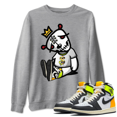Dead Dolls Unisex Sweatshirt - Air Jordan 1 Retro Black White Volt Gold Sneaker Matching Outfits Volt University Gold 1s Long Sleeve Heather Grey Pullover S