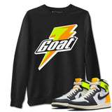 Goat Unisex Sweatshirt - Air Jordan 1 Retro Black White Volt Gold Sneaker Matching Outfits Volt University Gold 1s Long Sleeve Black Pullover S