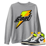 Goat Unisex Sweatshirt - Air Jordan 1 Retro Black White Volt Gold Sneaker Matching Outfits Volt University Gold 1s Long Sleeve Heather Grey Pullover S