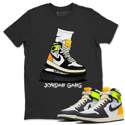 Jordan Gang T-Shirt - Air Jordan 1 Volt Gold Air Jordan 1 White Black Volt Gold Unisex Crew Neck T Shirt Volt University Gold 1s Black Tee