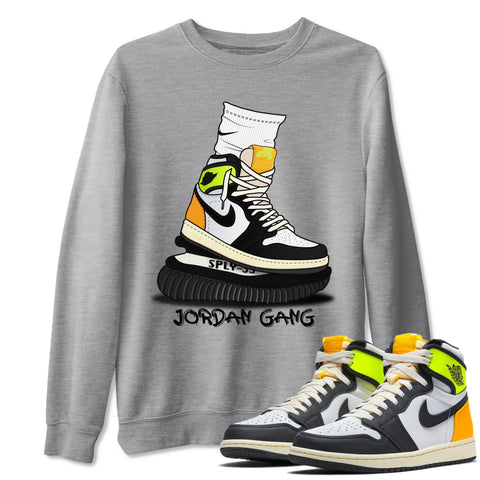 Jordan Gang Unisex Sweatshirt - Air Jordan 1 Retro Black White Volt Gold Sneaker Matching Outfits Volt University Gold 1s Long Sleeve Heather Grey Pullover S