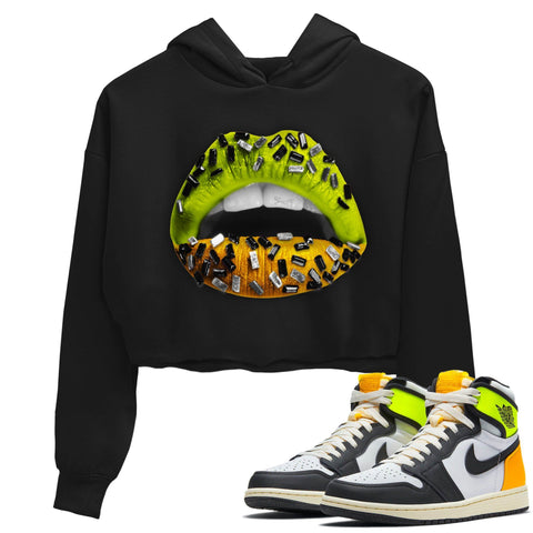 Air Jordan 1 Retro Black White Volt Gold Sneaker Long Sleeve Women Crop Hoodie And Outfits 1s Volt University Gold Lips Jewel Black Hoodies S