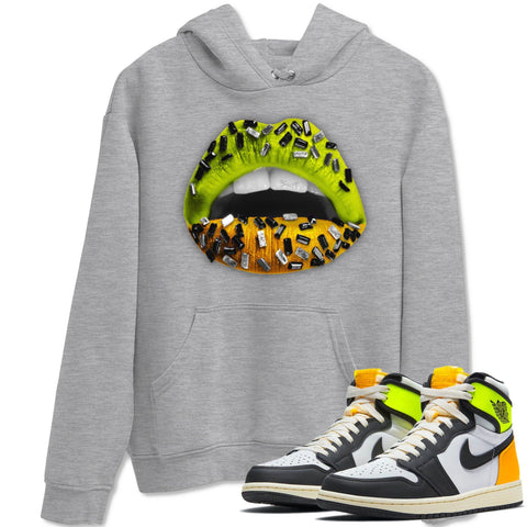 Lips Jewel Unisex Hoodies - Air Jordan 1 Retro Black White Volt Gold Sneaker Matching Outfits Volt University Gold 1s Long Sleeve Heather Grey Hoodie S