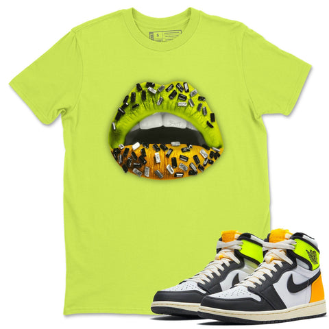 Lips Jewel T-Shirt - Air Jordan 1 Volt Gold Air Jordan 1 White Black Volt Gold Unisex Crew Neck T Shirt Volt University Gold 1s Safety Green Tee