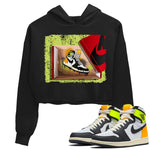 Air Jordan 1 Retro Black White Volt Gold Sneaker Long Sleeve Women Crop Hoodie And Outfits 1s Volt University Gold New Kicks Black Hoodies S