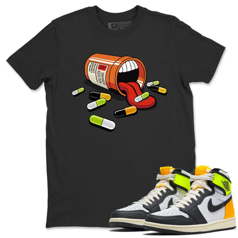 Sneaker Addiction T-Shirt - Air Jordan 1 Volt Gold Air Jordan 1 White Black Volt Gold Unisex Crew Neck T Shirt Volt University Gold 1s Black Tee