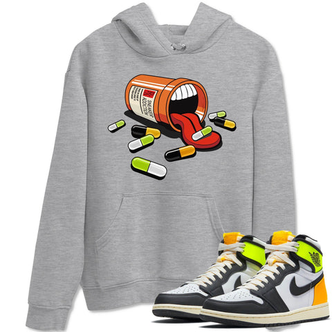 Sneaker Addiction Unisex Hoodies - Air Jordan 1 Retro Black White Volt Gold Sneaker Matching Outfits Volt University Gold 1s Long Sleeve Heather Grey Hoodie S