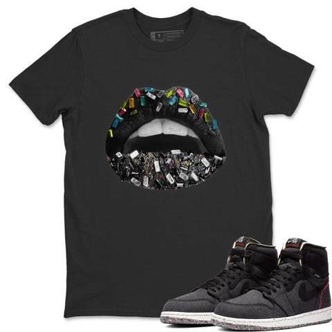 Air Jordan 1 Zoom Crater Sneaker Shirts And Sneaker Matching Outfits Lip Jewel Black T Shirt Image