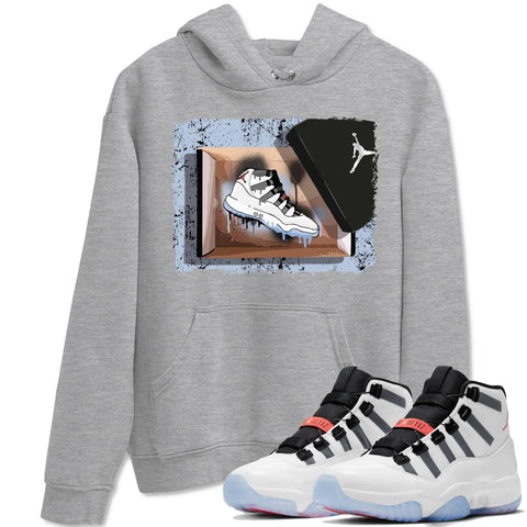 New Kicks Unisex Hoodies - Air Jordan 11 Adapt Sneaker Matching Outfits Adapt 11s Apt Long Sleeve Heather Grey Hoodie S