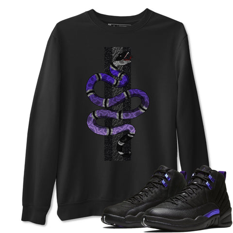 Air Jordan 12 Retro Dark Purple Concord Sneaker Matching Pullover Snake Black Sweatshirt