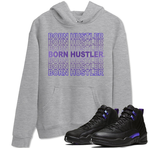 Air Jordan 12 Dark Purple Concord Sneaker Long Sleeve Unisex Hoodies And Outfits Born Hustler Heather Grey Pullover S