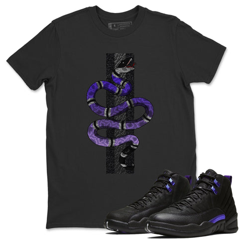Air Jordan 12 Retro Dark Purple Concord Sneaker Matching Tee Snake Black T-shirt