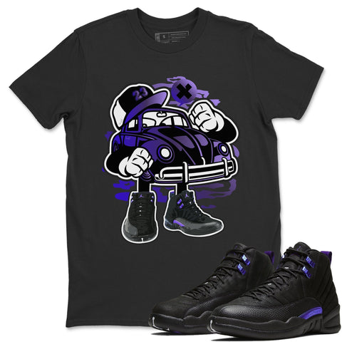 Air Jordan 12 Retro Dark Purple Concord Sneaker Matching Tee Street Beetle Black T-shirt
