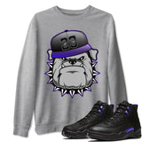 English Bulldog Unisex Sweatshirt - Air Jordan 12 Retro Dark Purple Concord Sneaker Matching Outfits Long Sleeve Heather Grey Pullovers S