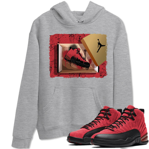 New Kicks Unisex Hoodies - Air Jordan 12 Retro Reverse Flu Game Sneaker Matching Outfits Reverse Flu Game 12s Black Red Long Sleeve Heather Grey Hoodie S