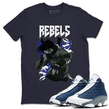 Rebels T-Shirt - Air Jordan 13 Flint Air Jordan 13 Shirt Jordan 13 Flint Navy S