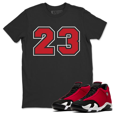 Number 23 T-Shirt - Air Jordan 14 Gym Red Air Jordan 14 Shirt Jordan 14 Gym Red Black S