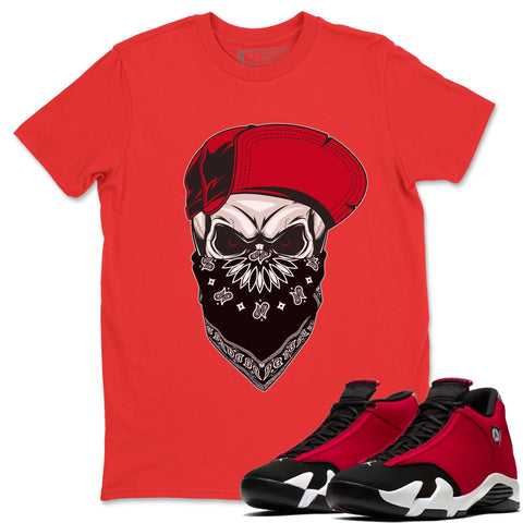 Skull Hat T-Shirt - Air Jordan 14 Gym Red Air Jordan 14 Shirt Jordan 14 Gym Red Red S