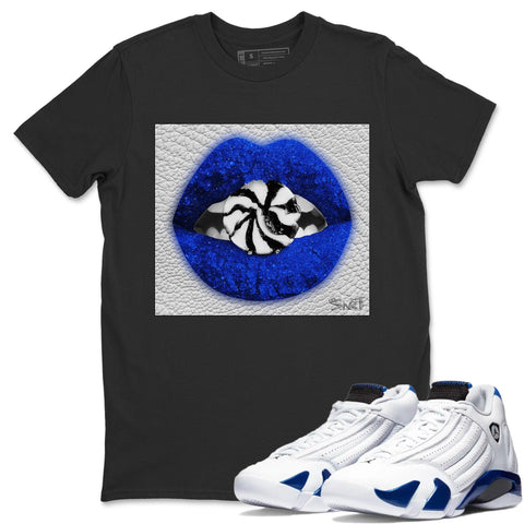 Air Jordan 14 Hyper Royal Sneaker Shirts And Sneaker Matching Outfits Lip Candy Black T Shirt Image