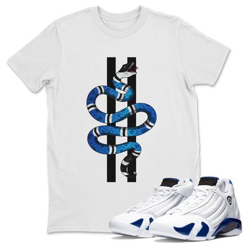 Air Jordan 14 Hyper Royal Sneaker Shirts And Sneaker Matching Outfits Snake White T Shirt Image