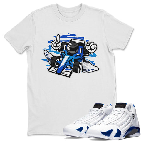 Air Jordan 14 Hyper Royal Sneaker Shirts And Sneaker Matching Outfits Race White T Shirt Image