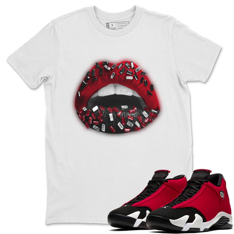 Lips Jewel T-Shirt - Air Jordan 14 Gym Red Air Jordan 14 Shirt Jordan 14 Gym Red White S