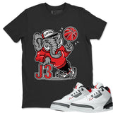 Air Jordan 3 Fire Red Sneaker Matching Tee And Outfit Elephant Black T Shirt Image