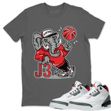 Air Jordan 3 Fire Red Sneaker Matching Tee And Outfit Elephant Cool Grey T Shirt Image