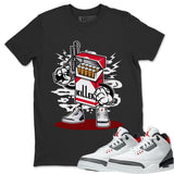 Air Jordan 3 SE Fire Red Sneaker Matching Tee and Outfit Black Killer T Shirt Image