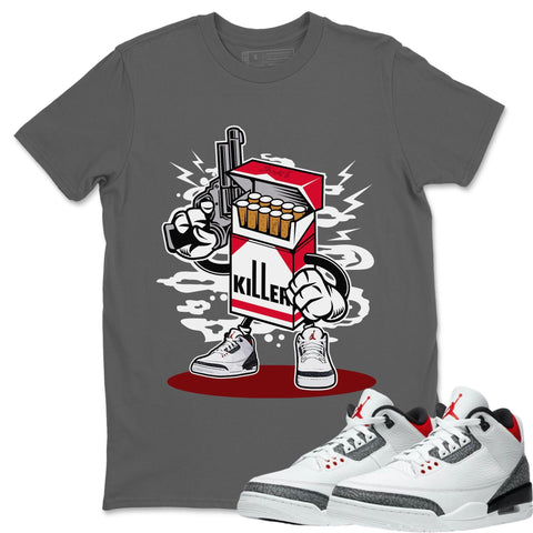 Air Jordan 3 SE Fire Red Sneaker Matching Tee and Outfit Cool Grey Killer T Shirt Image